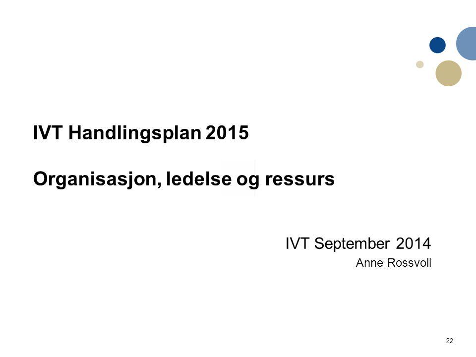 22 IVT Handlingsplan 2015 Organisasjon, ledelse og ressurs IVT September 2014 Anne Rossvoll Handlingsplan IVT Utdanning og læringskvalitet 2014