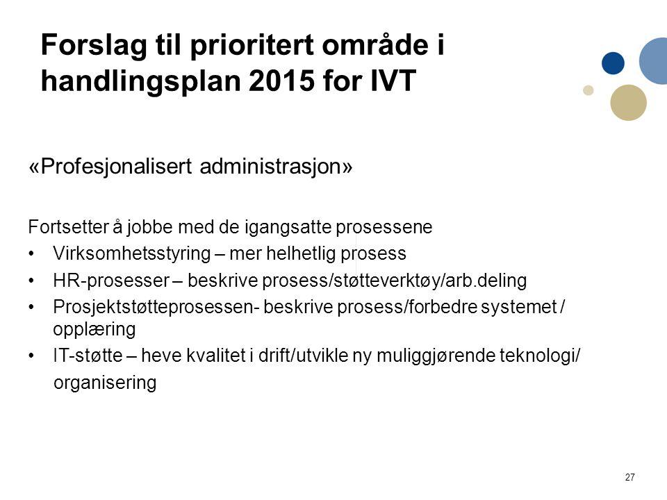 27 Forslag til prioritert område i handlingsplan 2015 for IVT «Profesjonalisert administrasjon» Fortsetter å jobbe med de igangsatte prosessene Virksomhetsstyring – mer helhetlig prosess HR-prosesser – beskrive prosess/støtteverktøy/arb.deling Prosjektstøtteprosessen- beskrive prosess/forbedre systemet / opplæring IT-støtte – heve kvalitet i drift/utvikle ny muliggjørende teknologi/ organisering