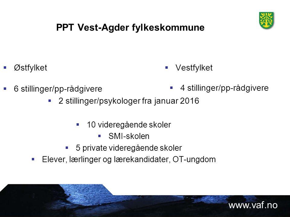 www.vaf.no Rutiner for samarbeid mellom videregående skoler, utdanningsavdelingen/inntak og PP- tjenesten i Vest-Agder fylkeskommune.