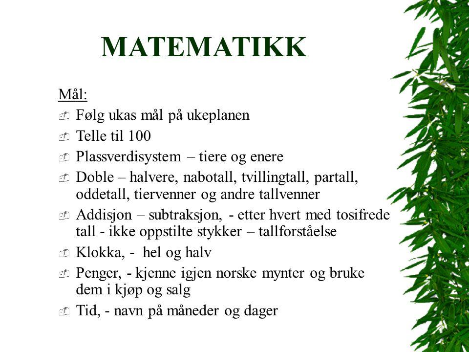 MATEMATIKK Mål:  Følg ukas mål på ukeplanen  Telle til 100  Plassverdisystem – tiere og enere  Doble – halvere, nabotall, tvillingtall, partall, oddetall, tiervenner og andre tallvenner  Addisjon – subtraksjon, - etter hvert med tosifrede tall - ikke oppstilte stykker – tallforståelse  Klokka, - hel og halv  Penger, - kjenne igjen norske mynter og bruke dem i kjøp og salg  Tid, - navn på måneder og dager