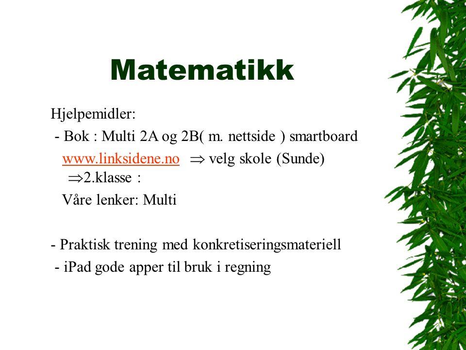 Matematikk Hjelpemidler: - Bok : Multi 2A og 2B( m.