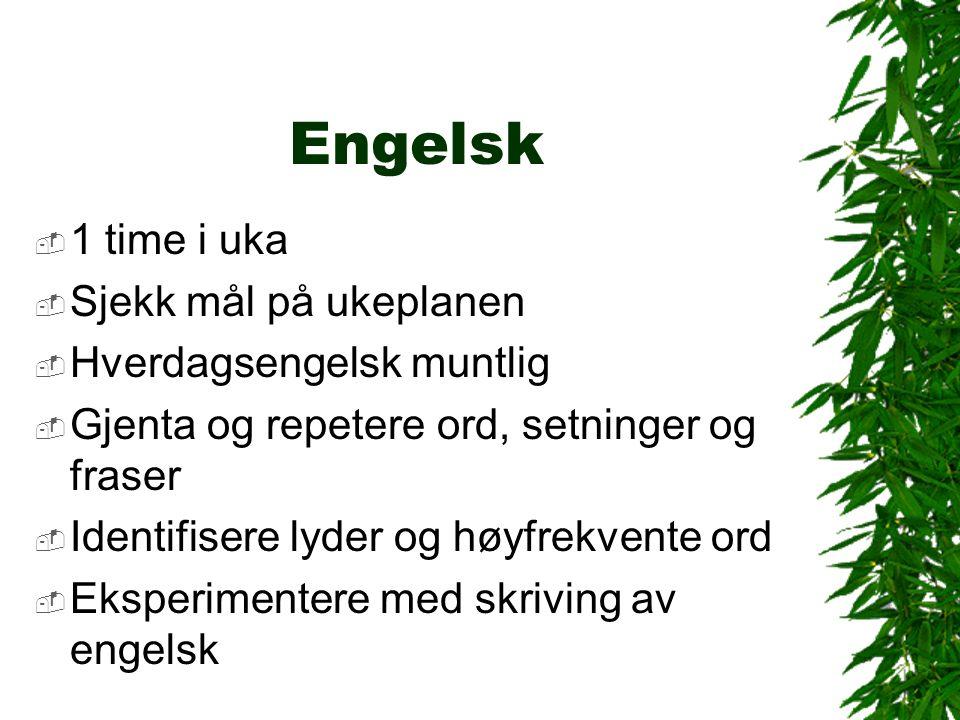 Engelsk  1 time i uka  Sjekk mål på ukeplanen  Hverdagsengelsk muntlig  Gjenta og repetere ord, setninger og fraser  Identifisere lyder og høyfrekvente ord  Eksperimentere med skriving av engelsk