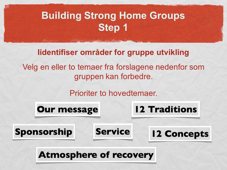 Building Strong Home Groups Step 1 Iidentifiser områder for gruppe utvikling Velg en eller to temaer fra forslagene nedenfor som gruppen kan forbedre.