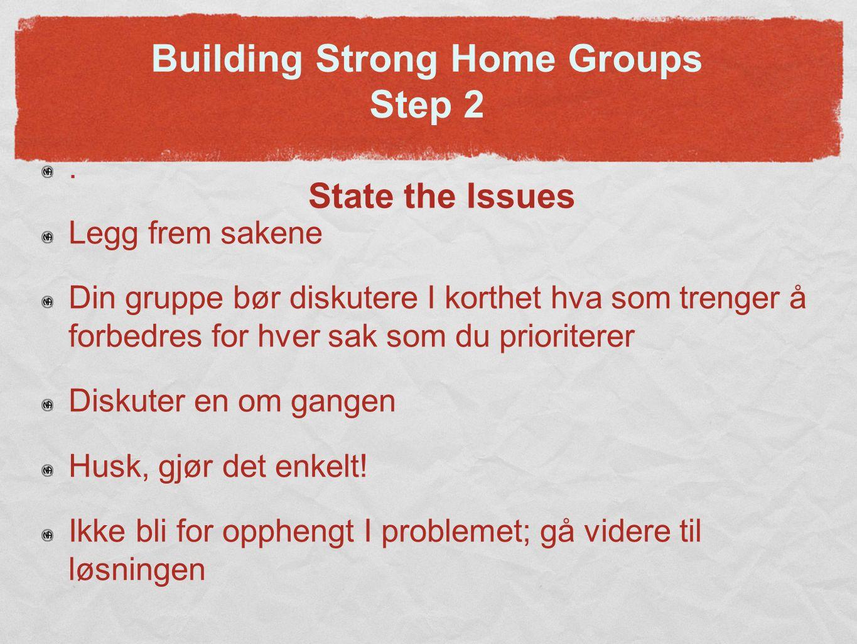 Building Strong Home Groups Step 3 Brainstorm Solutions Som gruppe, diskutere ideer for løsninger Fokuser på fremgangsmåter; Ikke bekymre deg om å være perfekt Små forbedringer er bedre enn ingen forbedringer