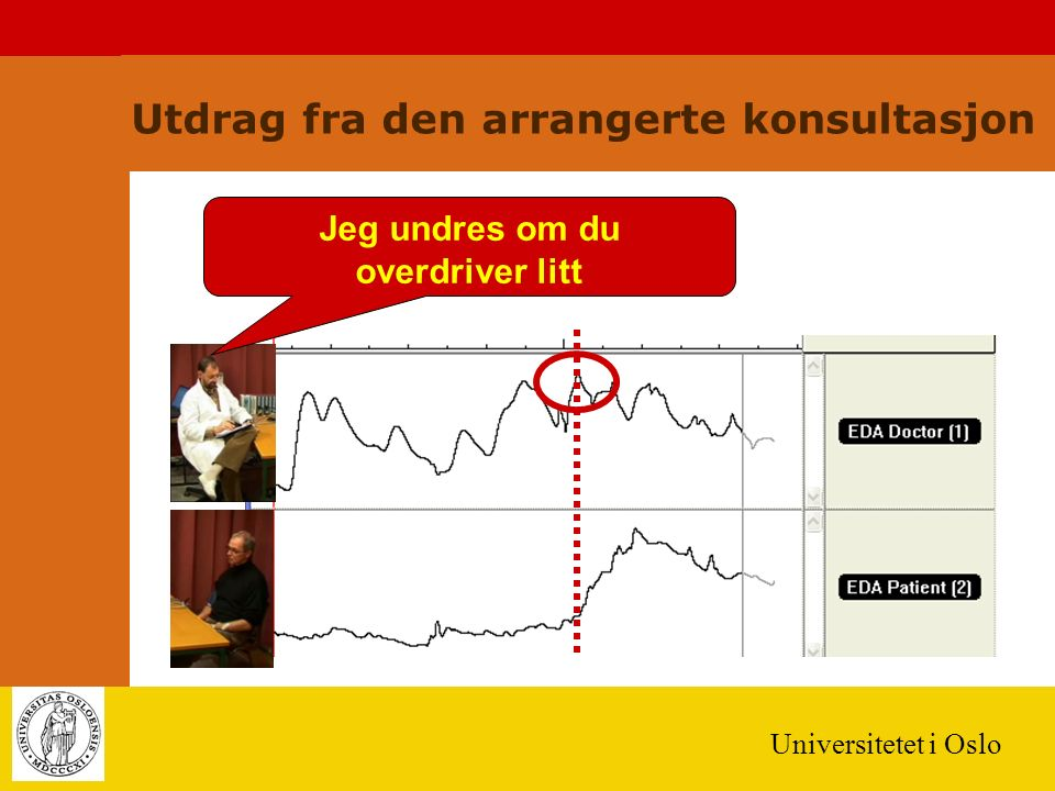 Universitetet i Oslo Utdrag fra den arrangerte konsultasjon Jeg undres om du overdriver litt