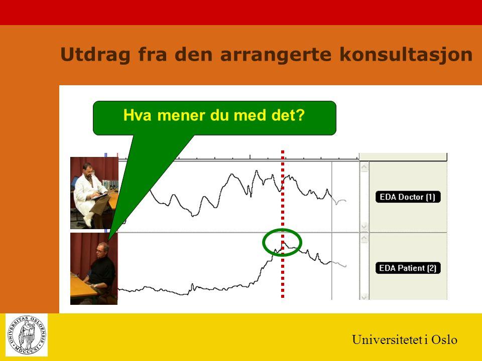 Universitetet i Oslo Hva mener du med det? Utdrag fra den arrangerte konsultasjon