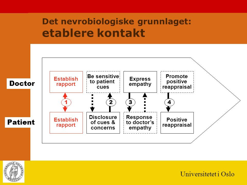 Universitetet i Oslo Establish rapport Doctor Patient 123 Establish rapport Be sensitive to patient cues Express empathy Promote positive reappraisal Disclosure of cues & concerns Response to doctor's empathy Positive reappraisal 4 Det nevrobiologiske grunnlaget: etablere kontakt