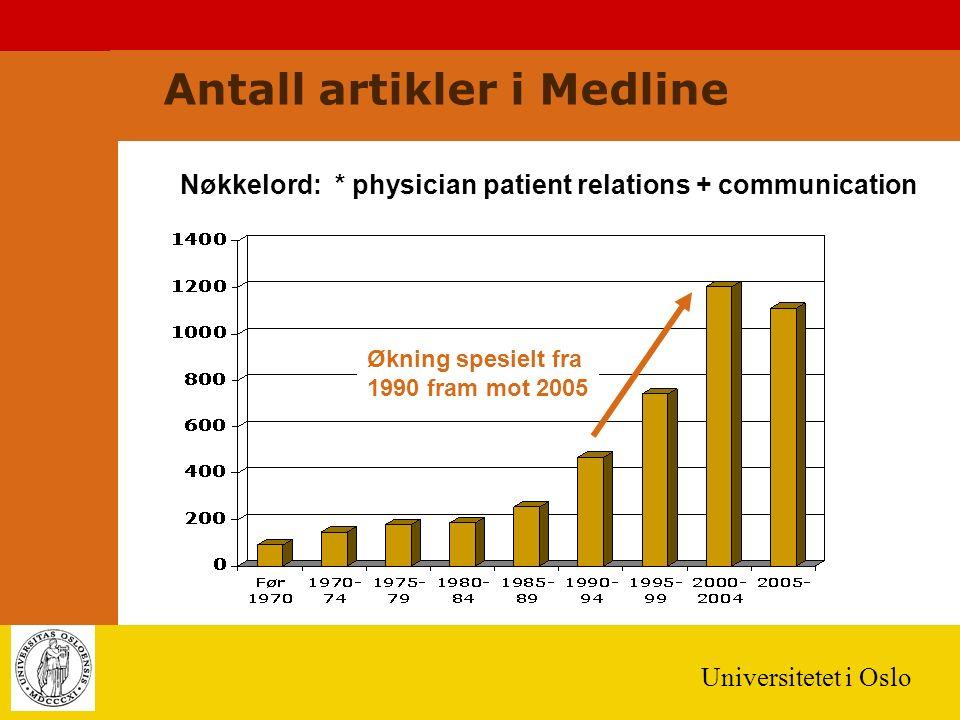 Universitetet i Oslo Antall artikler i Medline Nøkkelord: * physician patient relations + communication Økning spesielt fra 1990 fram mot 2005