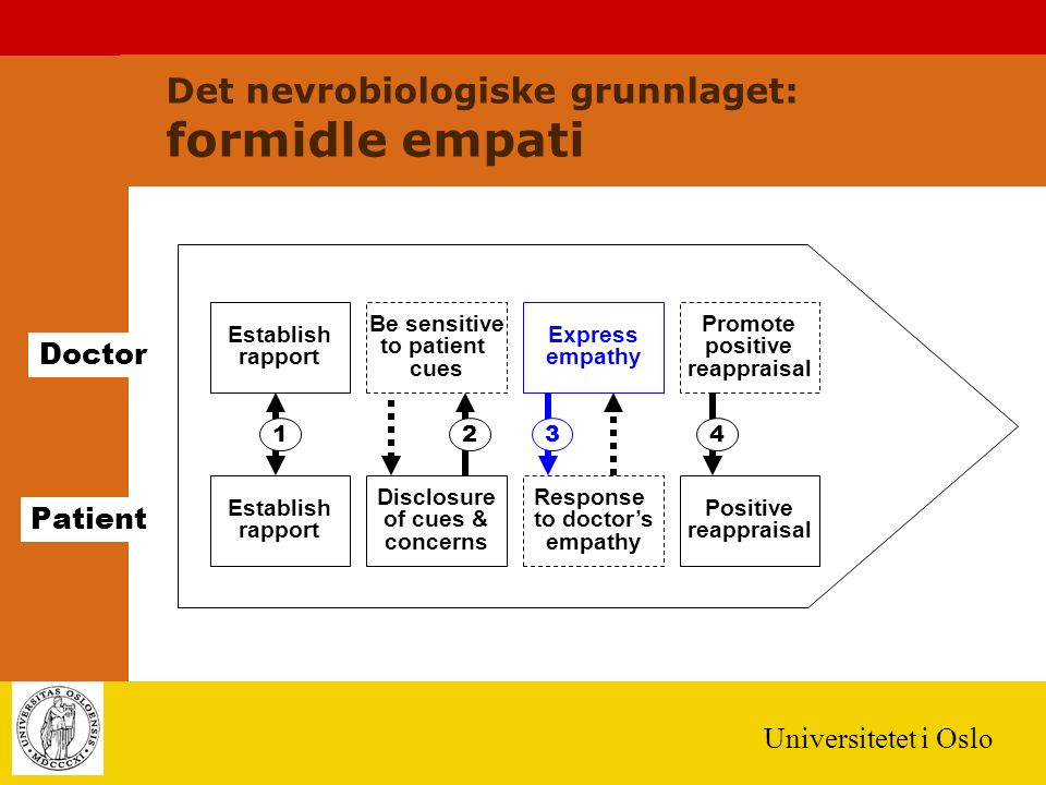 Universitetet i Oslo Establish rapport Doctor Patient 123 Establish rapport Be sensitive to patient cues Express empathy Promote positive reappraisal Disclosure of cues & concerns Response to doctor's empathy Positive reappraisal 4 Det nevrobiologiske grunnlaget: formidle empati