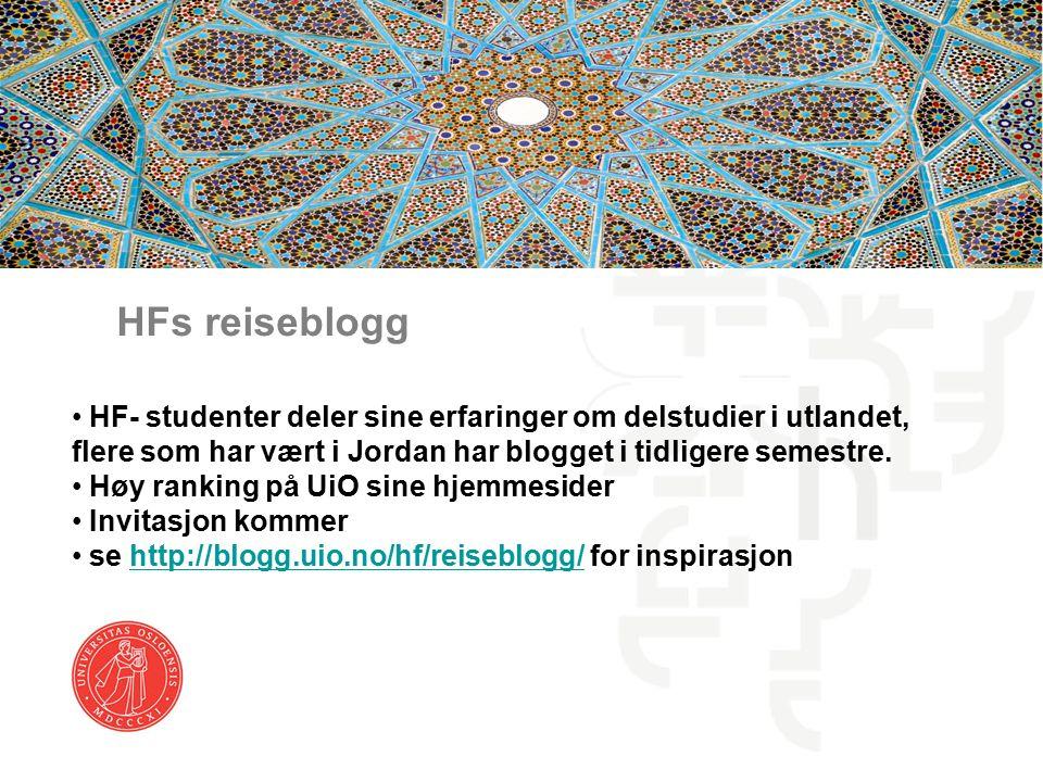 HFs reiseblogg HF- studenter deler sine erfaringer om delstudier i utlandet, flere som har vært i Jordan har blogget i tidligere semestre.