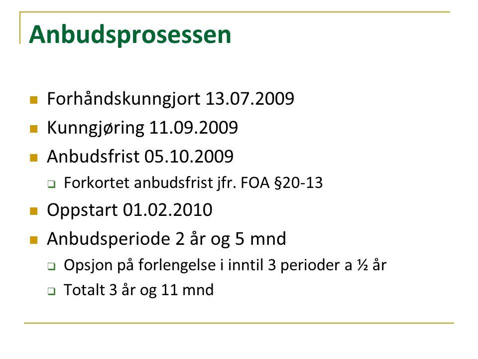 Anbudsprosessen Forhåndskunngjort 13.07.2009 Kunngjøring 11.09.2009 Anbudsfrist 05.10.2009  Forkortet anbudsfrist jfr.