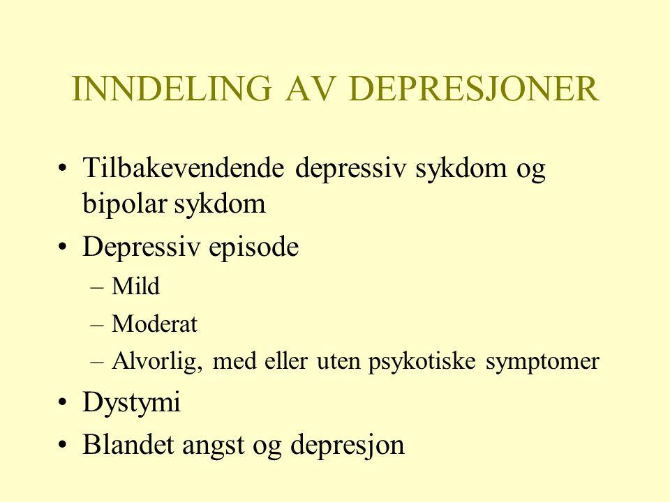 INNDELING AV DEPRESJONER Tilbakevendende depressiv sykdom og bipolar sykdom Depressiv episode –Mild –Moderat –Alvorlig, med eller uten psykotiske symptomer Dystymi Blandet angst og depresjon