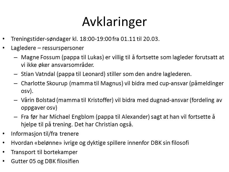 Avklaringer Treningstider-søndager kl. 18:00-19:00 fra 01.11 til 20.03.