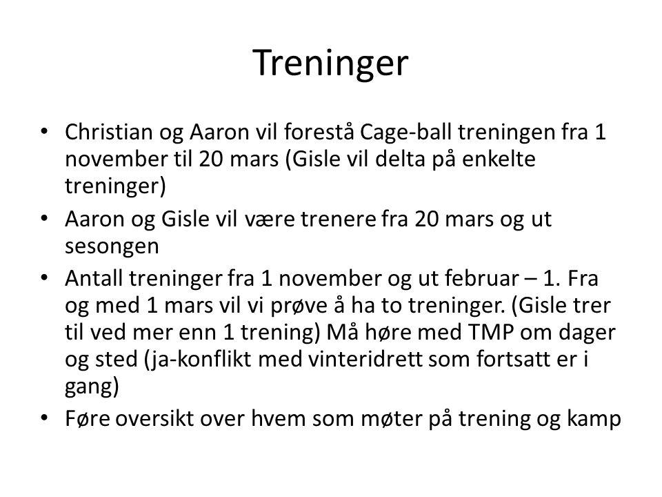 Treninger Christian og Aaron vil forestå Cage-ball treningen fra 1 november til 20 mars (Gisle vil delta på enkelte treninger) Aaron og Gisle vil være trenere fra 20 mars og ut sesongen Antall treninger fra 1 november og ut februar – 1.