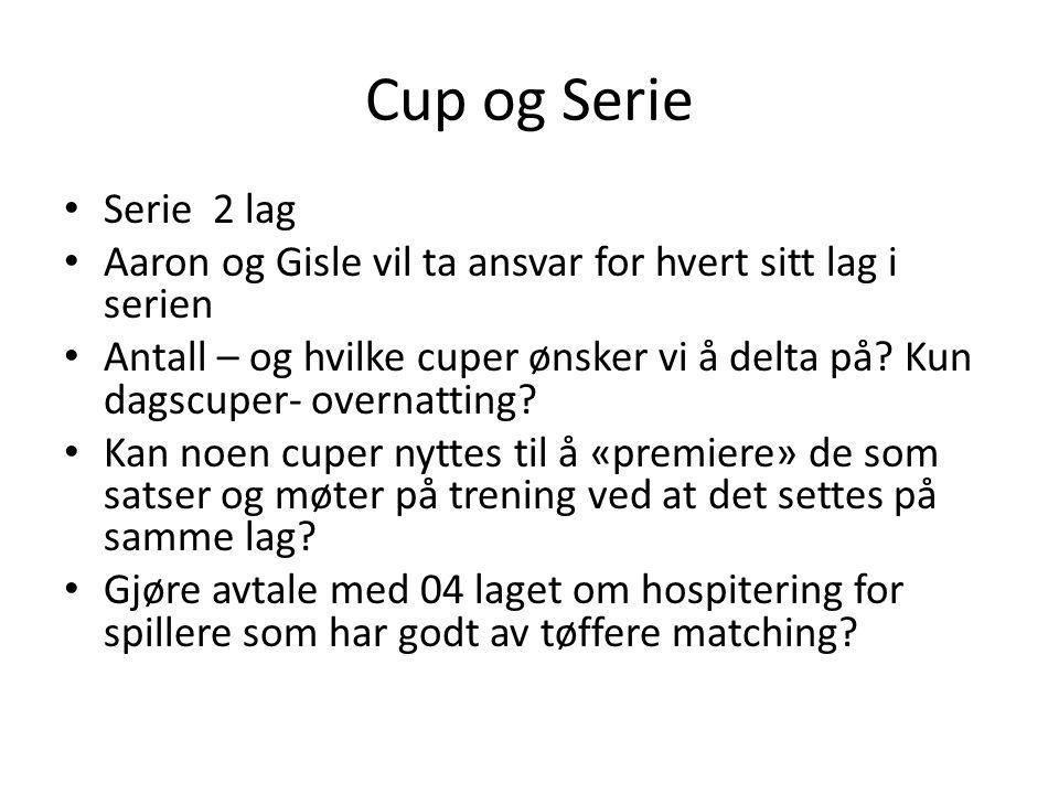Cup og Serie Serie 2 lag Aaron og Gisle vil ta ansvar for hvert sitt lag i serien Antall – og hvilke cuper ønsker vi å delta på? Kun dagscuper- overna
