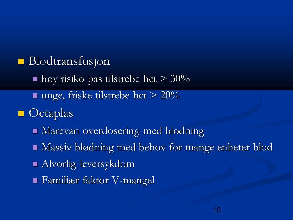 10 Blodtransfusjon Blodtransfusjon høy risiko pas tilstrebe hct > 30% høy risiko pas tilstrebe hct > 30% unge, friske tilstrebe hct > 20% unge, friske tilstrebe hct > 20% Octaplas Octaplas Marevan overdosering med blødning Marevan overdosering med blødning Massiv blødning med behov for mange enheter blod Massiv blødning med behov for mange enheter blod Alvorlig leversykdom Alvorlig leversykdom Familiær faktor V-mangel Familiær faktor V-mangel