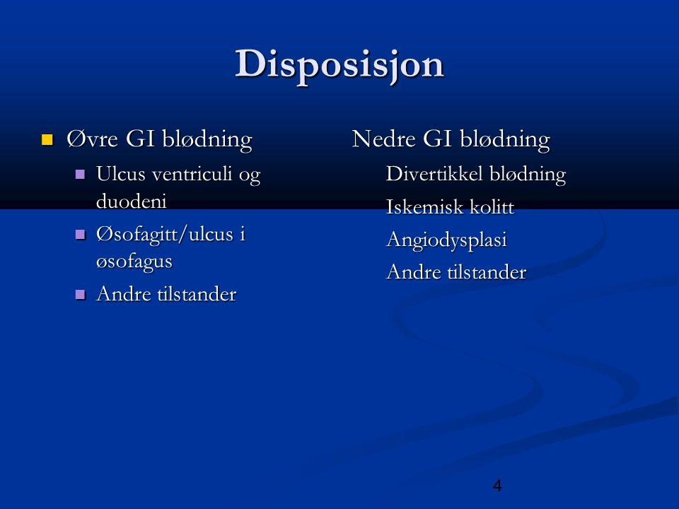5 Øvre gastrointestinal blødning Blødning som oppstår proksimalt for Treitz ligament Blødning som oppstår proksimalt for Treitz ligament Det vil si patologi i øsofagus, ventrikkel eller duodenum Det vil si patologi i øsofagus, ventrikkel eller duodenum Incidensen av ØGIB har vært fallende fra beg av 90 tallet Incidensen av ØGIB har vært fallende fra beg av 90 tallet >70% av blødningene skjer hos de over 60år >70% av blødningene skjer hos de over 60år incidensen øker med alderen incidensen øker med alderen