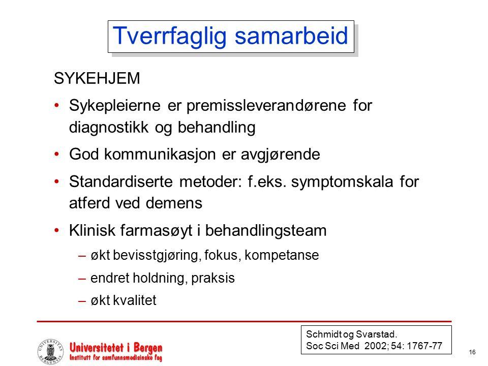 16 Tverrfaglig samarbeid SYKEHJEM Sykepleierne er premissleverandørene for diagnostikk og behandling God kommunikasjon er avgjørende Standardiserte me