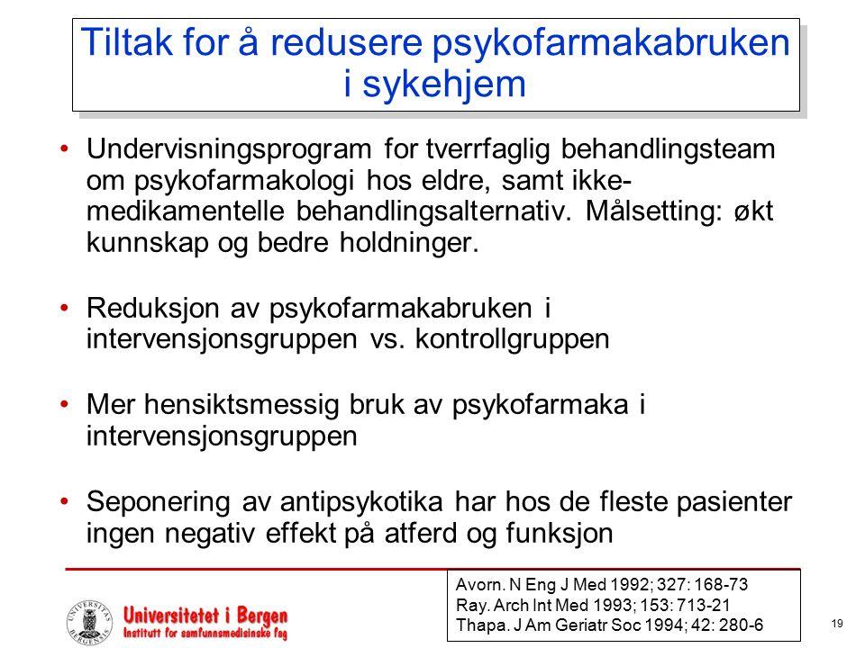 19 Tiltak for å redusere psykofarmakabruken i sykehjem Undervisningsprogram for tverrfaglig behandlingsteam om psykofarmakologi hos eldre, samt ikke- medikamentelle behandlingsalternativ.