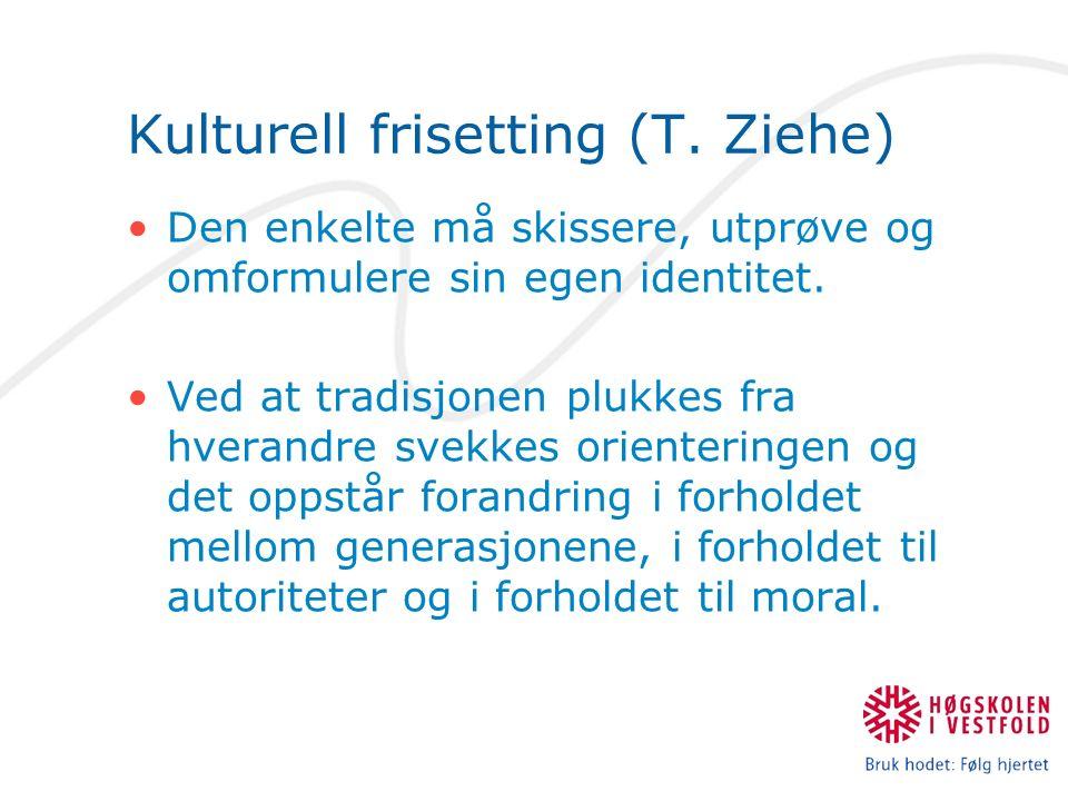 Kulturell frisetting (T. Ziehe) Den enkelte må skissere, utprøve og omformulere sin egen identitet.