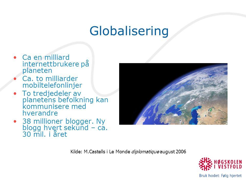 Globalisering Ca en milliard internettbrukere på planeten Ca.