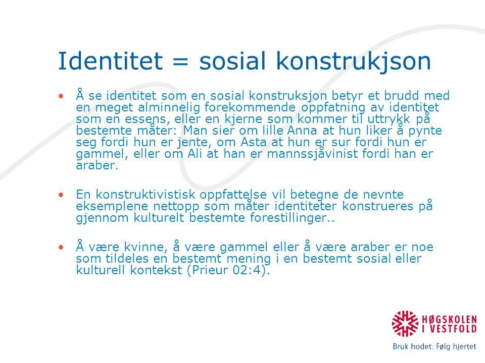 Sosialisering & Populærkultur Subjektivering  Følelser intimitet og nærhet: Moderne vennskap (Fra fam.