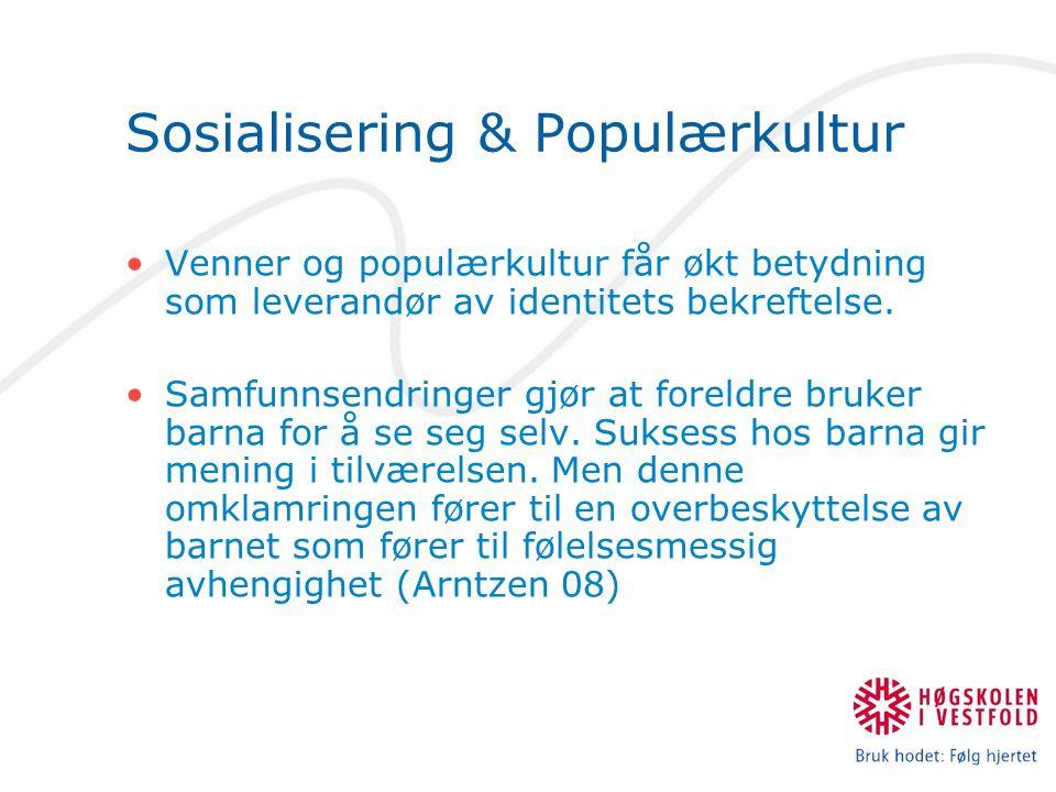 Sosialisering & Populærkultur Venner og populærkultur får økt betydning som leverandør av identitets bekreftelse.