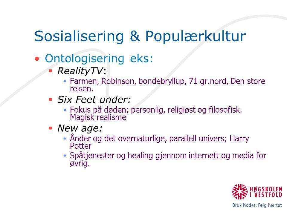 Sosialisering & Populærkultur Ontologisering eks:  RealityTV:  Farmen, Robinson, bondebryllup, 71 gr.nord, Den store reisen.