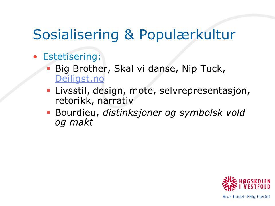 Sosialisering & Populærkultur Estetisering:  Big Brother, Skal vi danse, Nip Tuck, Deiligst.no Deiligst.no  Livsstil, design, mote, selvrepresentasjon, retorikk, narrativ  Bourdieu, distinksjoner og symbolsk vold og makt
