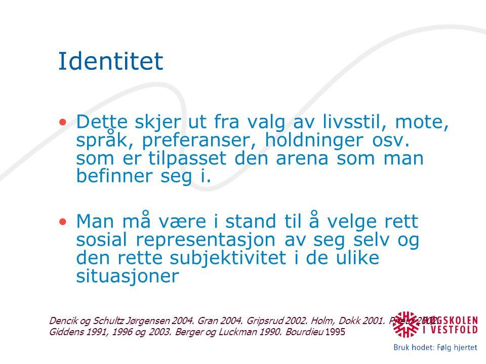Identitet Dette skjer ut fra valg av livsstil, mote, språk, preferanser, holdninger osv.