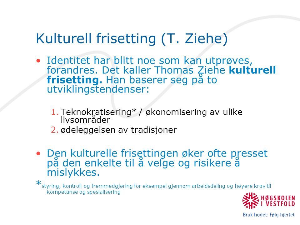 Kulturell frisetting (T. Ziehe) Identitet har blitt noe som kan utprøves, forandres.