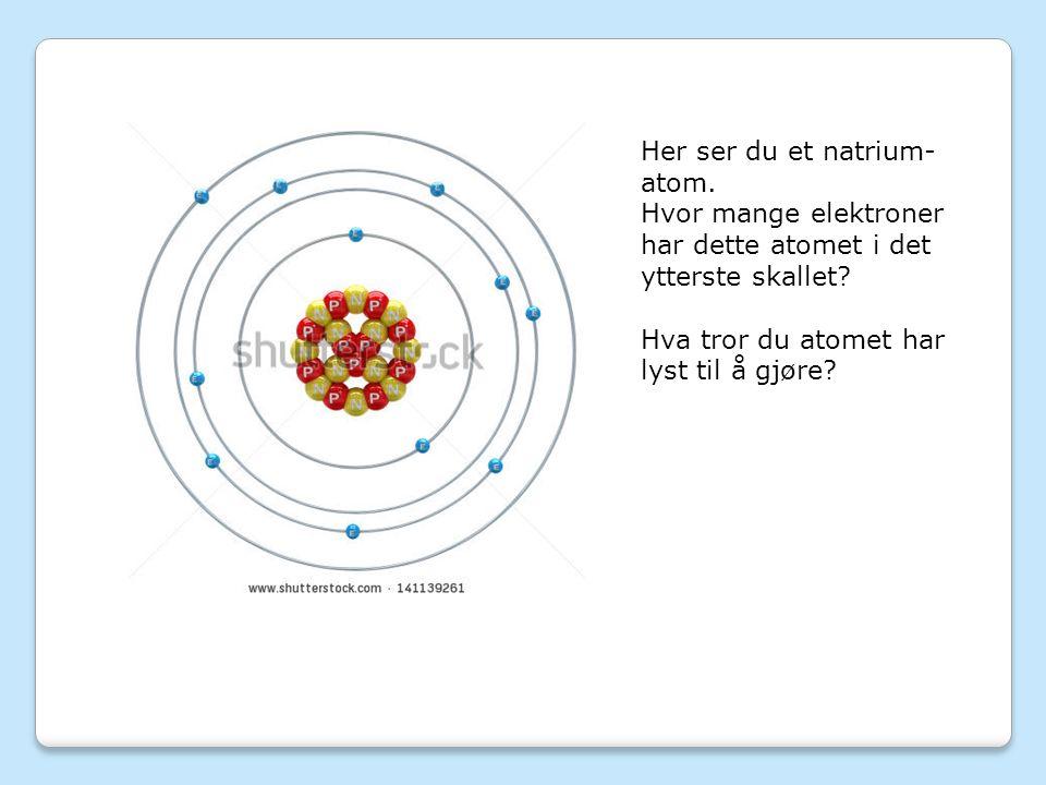 Her ser du et natrium- atom. Hvor mange elektroner har dette atomet i det ytterste skallet.
