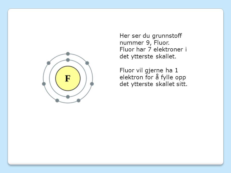 Her ser du grunnstoff nummer 9, Fluor.Fluor har 7 elektroner i det ytterste skallet.