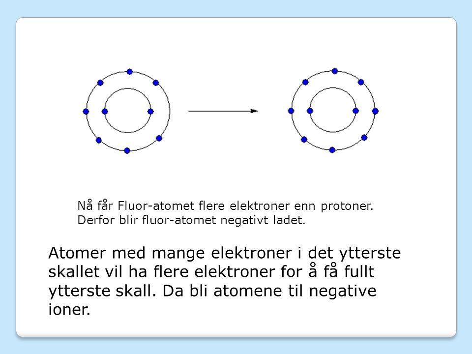 Nå får Fluor-atomet flere elektroner enn protoner.