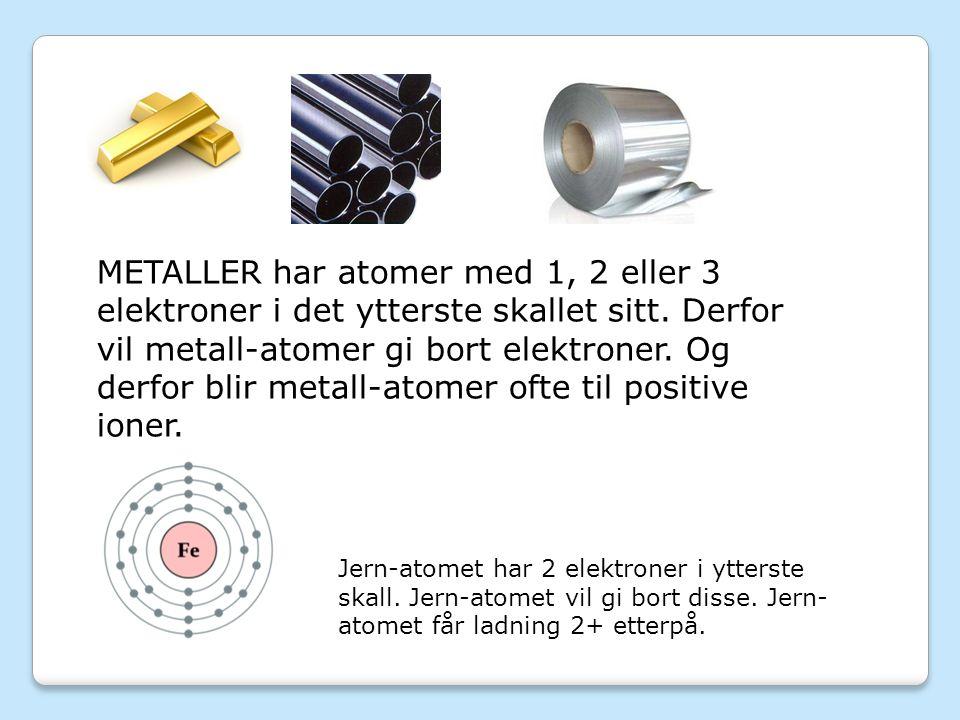 METALLER har atomer med 1, 2 eller 3 elektroner i det ytterste skallet sitt.