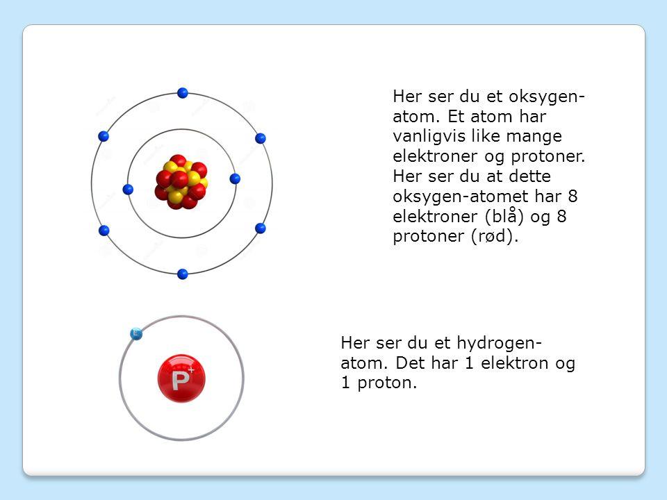 Her ser du et oksygen- atom. Et atom har vanligvis like mange elektroner og protoner.