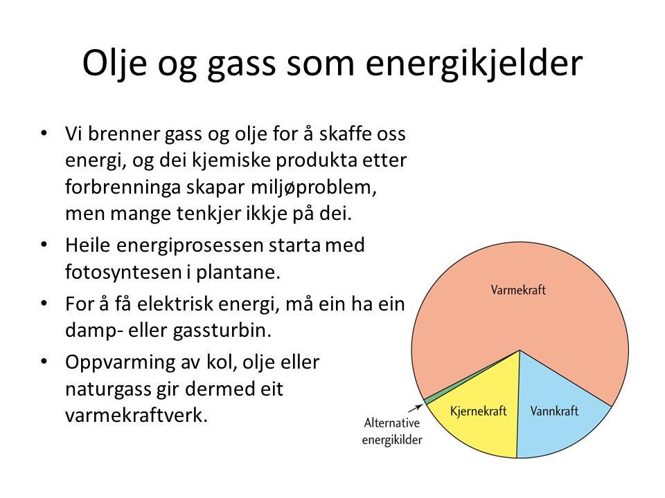 Olje og gass som energikjelder Vi brenner gass og olje for å skaffe oss energi, og dei kjemiske produkta etter forbrenninga skapar miljøproblem, men mange tenkjer ikkje på dei.