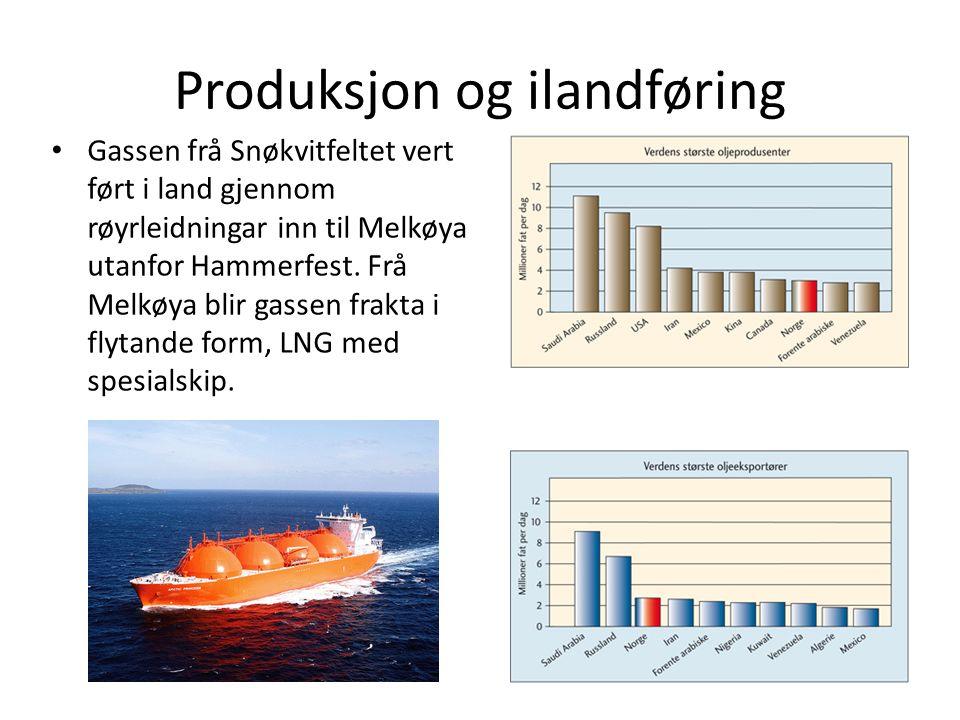 Produksjon og ilandføring Gassen frå Snøkvitfeltet vert ført i land gjennom røyrleidningar inn til Melkøya utanfor Hammerfest.