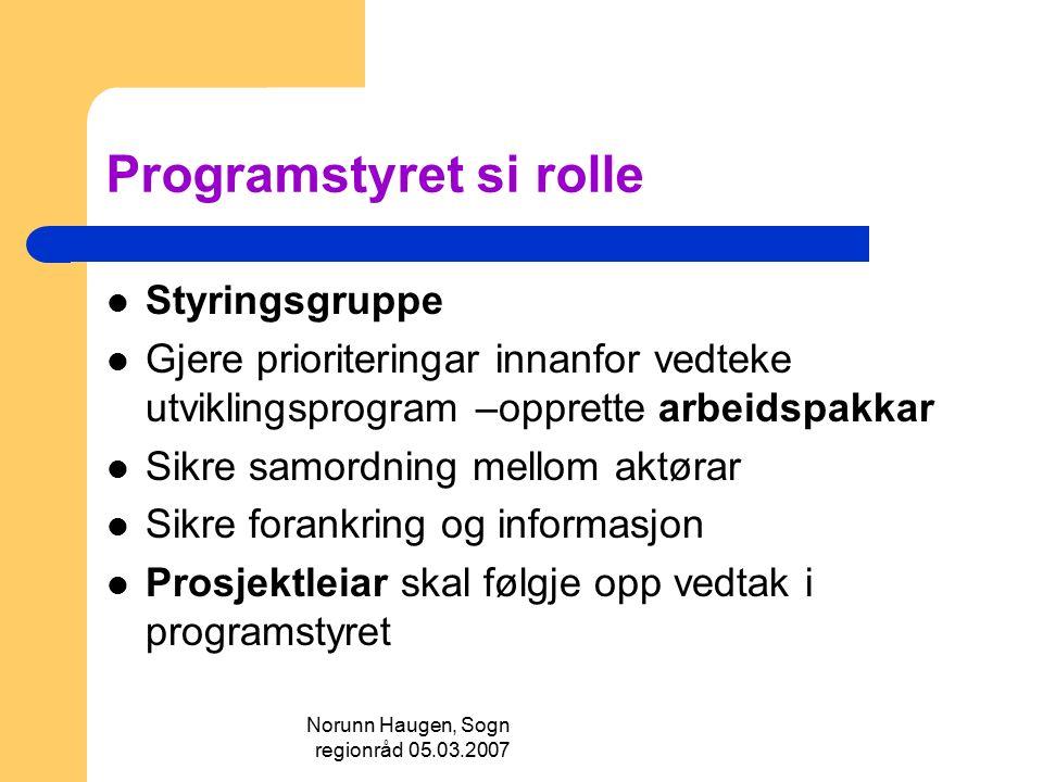 Norunn Haugen, Sogn regionråd 05.03.2007 Programstyret si rolle Styringsgruppe Gjere prioriteringar innanfor vedteke utviklingsprogram –opprette arbei