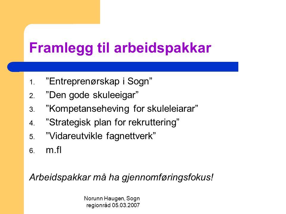 """Norunn Haugen, Sogn regionråd 05.03.2007 Framlegg til arbeidspakkar 1. """"Entreprenørskap i Sogn"""" 2. """"Den gode skuleeigar"""" 3. """"Kompetanseheving for skul"""