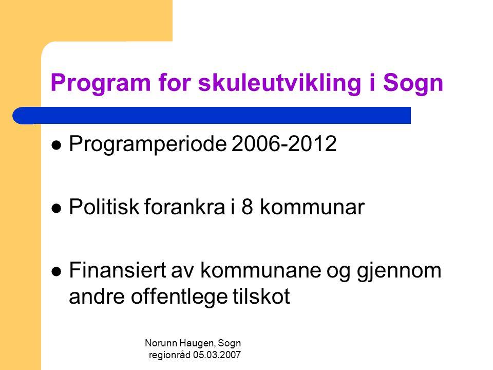 Norunn Haugen, Sogn regionråd 05.03.2007 Program for skuleutvikling i Sogn Programperiode 2006-2012 Politisk forankra i 8 kommunar Finansiert av kommu