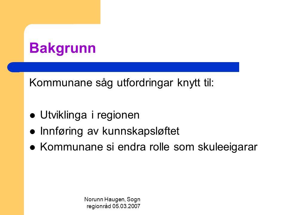 Norunn Haugen, Sogn regionråd 05.03.2007 Framlegg til arbeidspakkar 1.