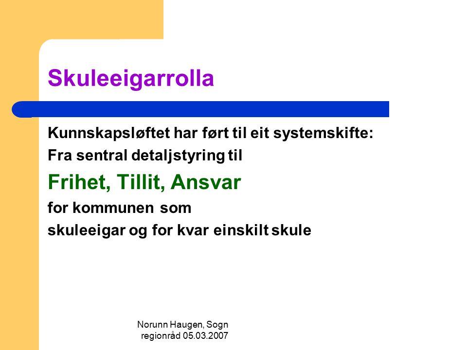 Norunn Haugen, Sogn regionråd 05.03.2007 Skuleeigarrolla Kunnskapsløftet har ført til eit systemskifte: Fra sentral detaljstyring til Frihet, Tillit,