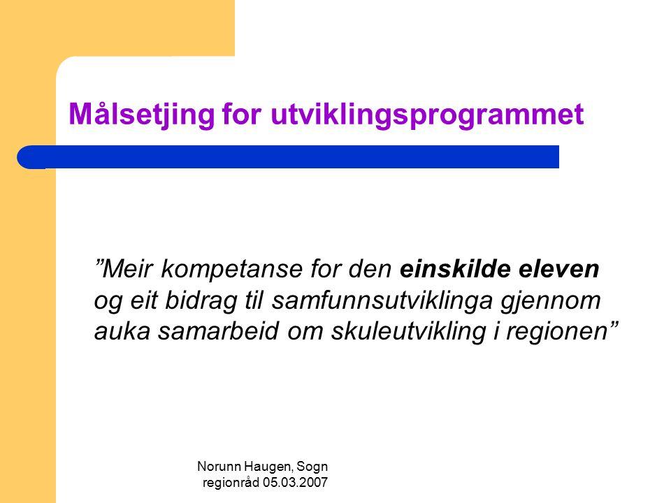 """Norunn Haugen, Sogn regionråd 05.03.2007 Målsetjing for utviklingsprogrammet """"Meir kompetanse for den einskilde eleven og eit bidrag til samfunnsutvik"""