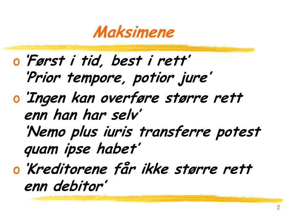 2 Maksimene o'Først i tid, best i rett' 'Prior tempore, potior jure' o'Ingen kan overføre større rett enn han har selv' 'Nemo plus iuris transferre potest quam ipse habet' o'Kreditorene får ikke større rett enn debitor'