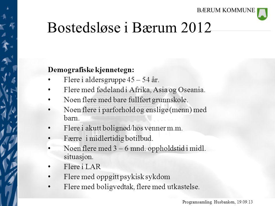 Programsamling Husbanken, 19.09.13 Demografiske kjennetegn: Flere i aldersgruppe 45 – 54 år.