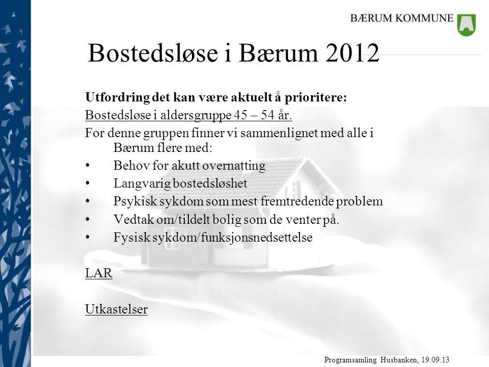 Programsamling Husbanken, 19.09.13 Utfordring det kan være aktuelt å prioritere: Bostedsløse i aldersgruppe 45 – 54 år.