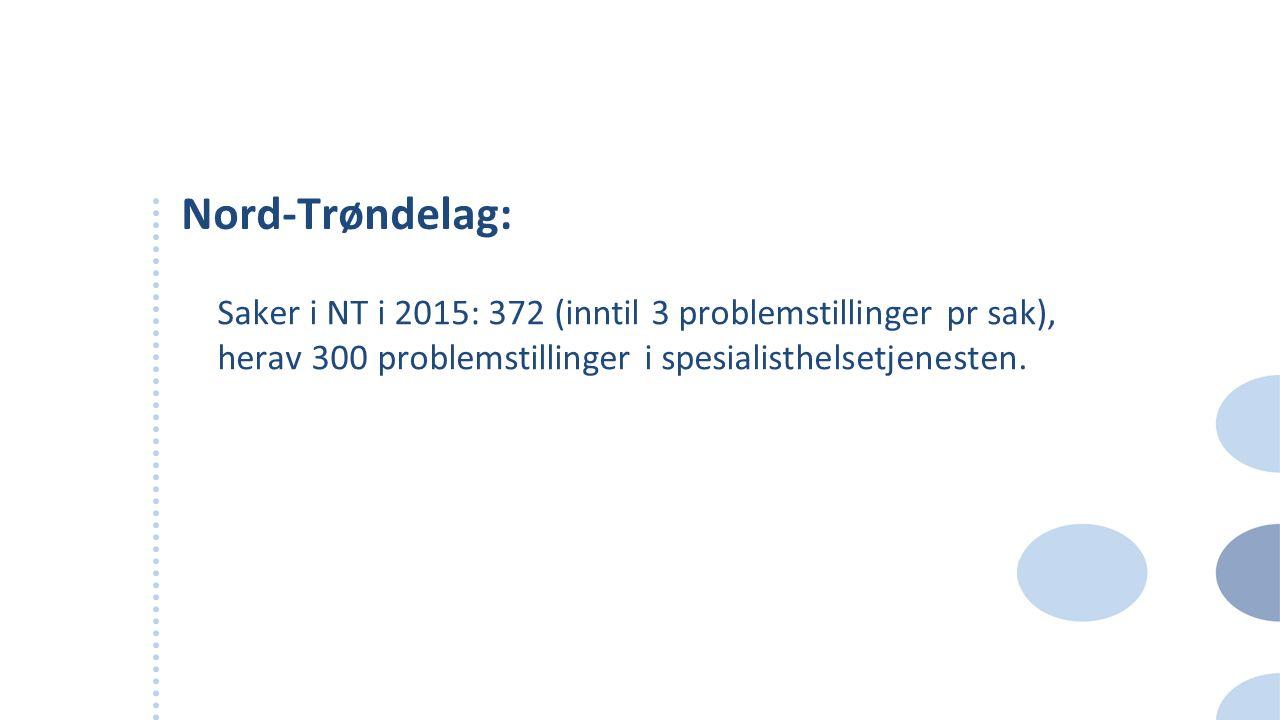 Nord-Trøndelag: Saker i NT i 2015: 372 (inntil 3 problemstillinger pr sak), herav 300 problemstillinger i spesialisthelsetjenesten.