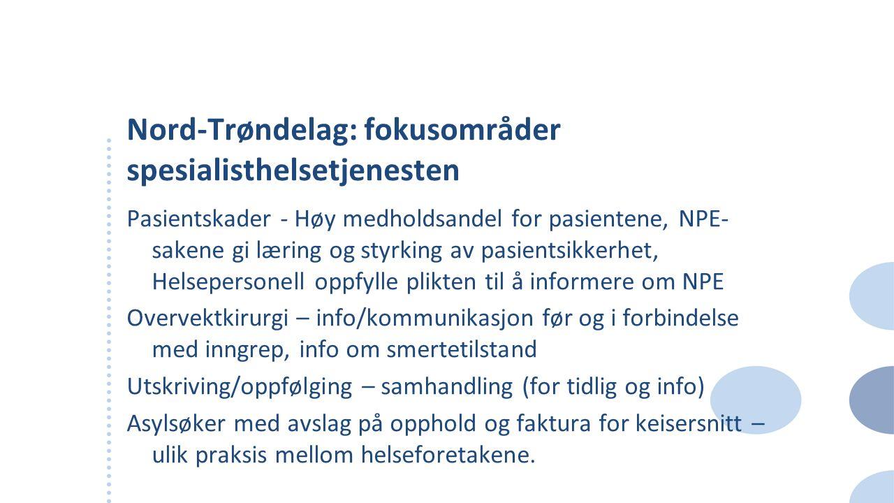 Nord-Trøndelag: fokusområder spesialisthelsetjenesten Pasientskader - Høy medholdsandel for pasientene, NPE- sakene gi læring og styrking av pasientsi