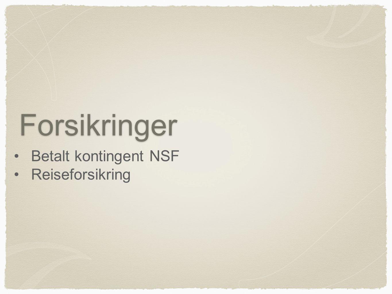Forsikringer Betalt kontingent NSF Reiseforsikring